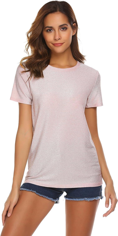 Womens Sequin Cold Shoulder Halter Neck Shirt Ladies Cocktail Casual Blouse Tops