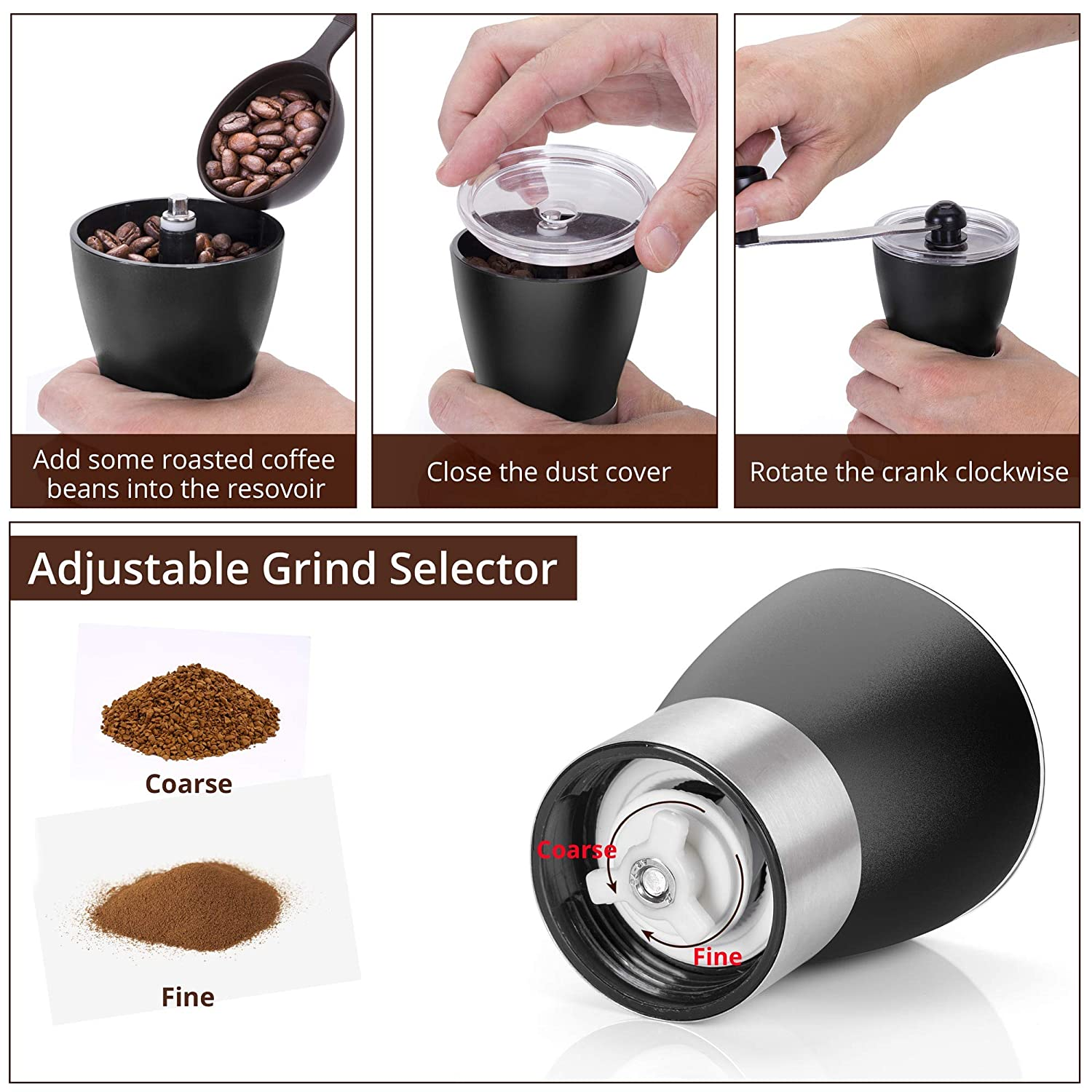 Two Clear Glass Jars Manual Coffee Mill Grinder with Ceramic Burrs Stainless Steel Handle and Silicon Cover