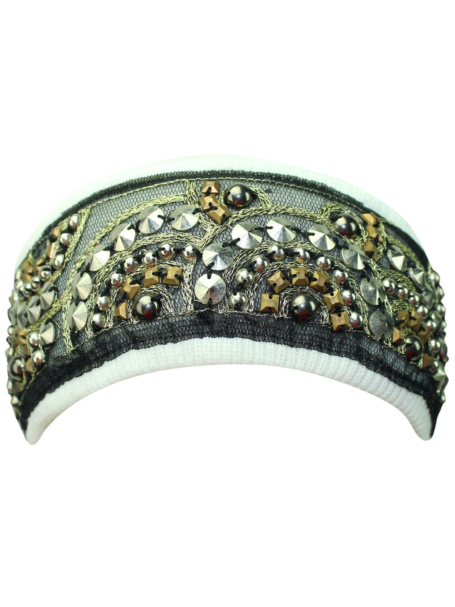 White Bohemian Style Beaded & Studded Headband by Luxury Divas