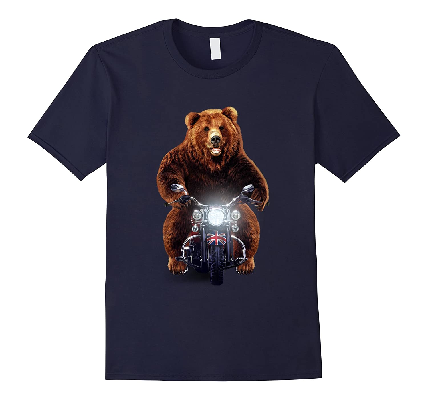 Biker Grizzly Bear Riding Motorcycle T-Shirt-FL