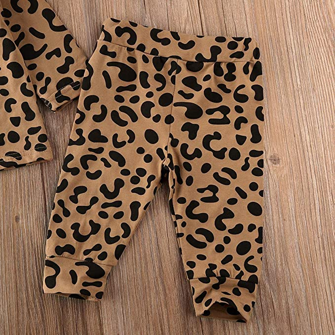 Newborn Baby Boy Girl Leopard Outfits Long Sleeve Button Pullover Shirt Tops Leggings Pants Infant Fall Winter Pajamas 0-18M