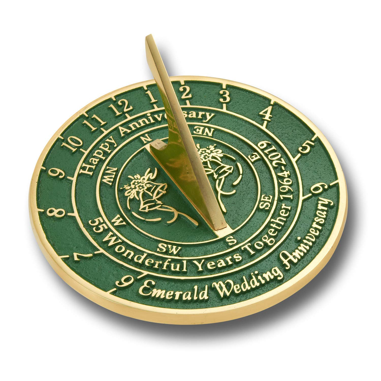 ANTIQUECOLLECTION 55th Emerald Wedding Anniversary Sundial Gift