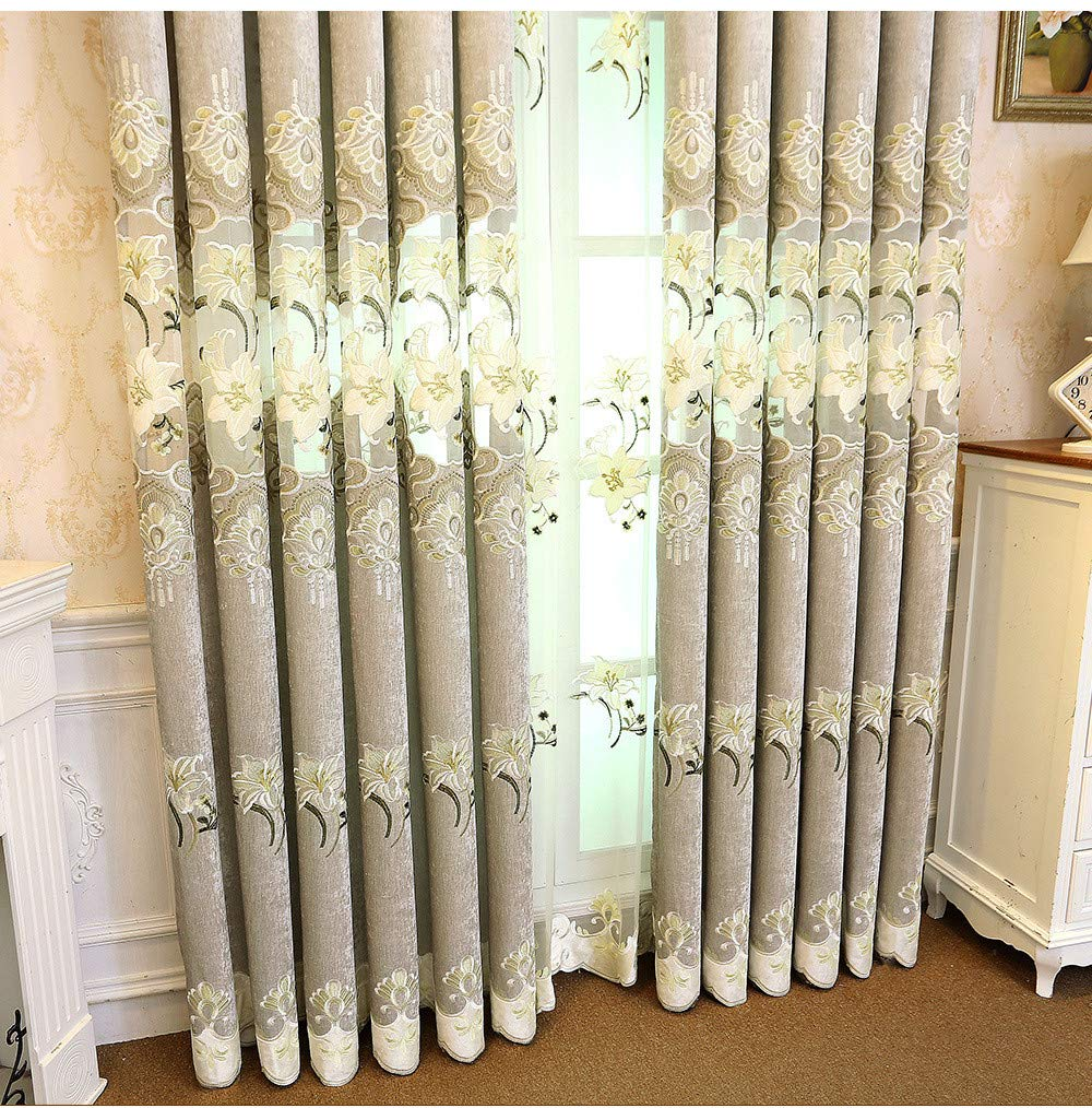 WPKIRA Grommet Curtains Blackout European Thicken Embroidery Lily Flower Chenille Curtains Window Treatment Drapes for Living Room Thermal Insulated Room Darkening Curtains 1 Panel W39 x L72 inch