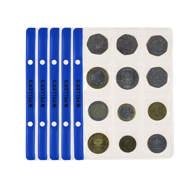 10 X Hojas con 12 compartimentos para monedas: 35mm X 35mm (álbum tipo S)