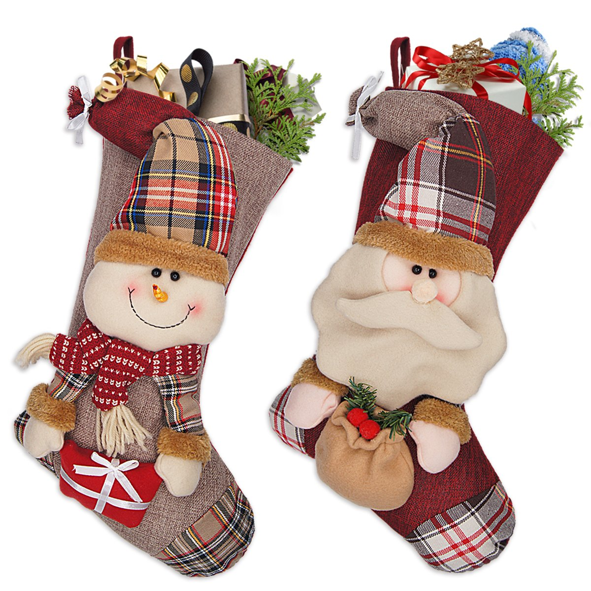 LimBridge 18'' Burlap 3D Christmas Stockings, Santa & Snowman, Set of 2