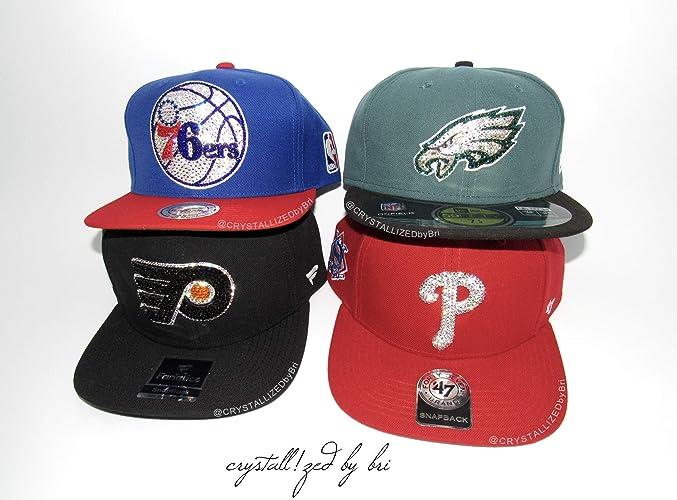 559bb4026e9 Amazon.com  Any Team Swarovski CRYSTALLIZED Snapback Baseball Cap Hat Bling  Crystals Sports NFL NHL NBA MLB  Handmade