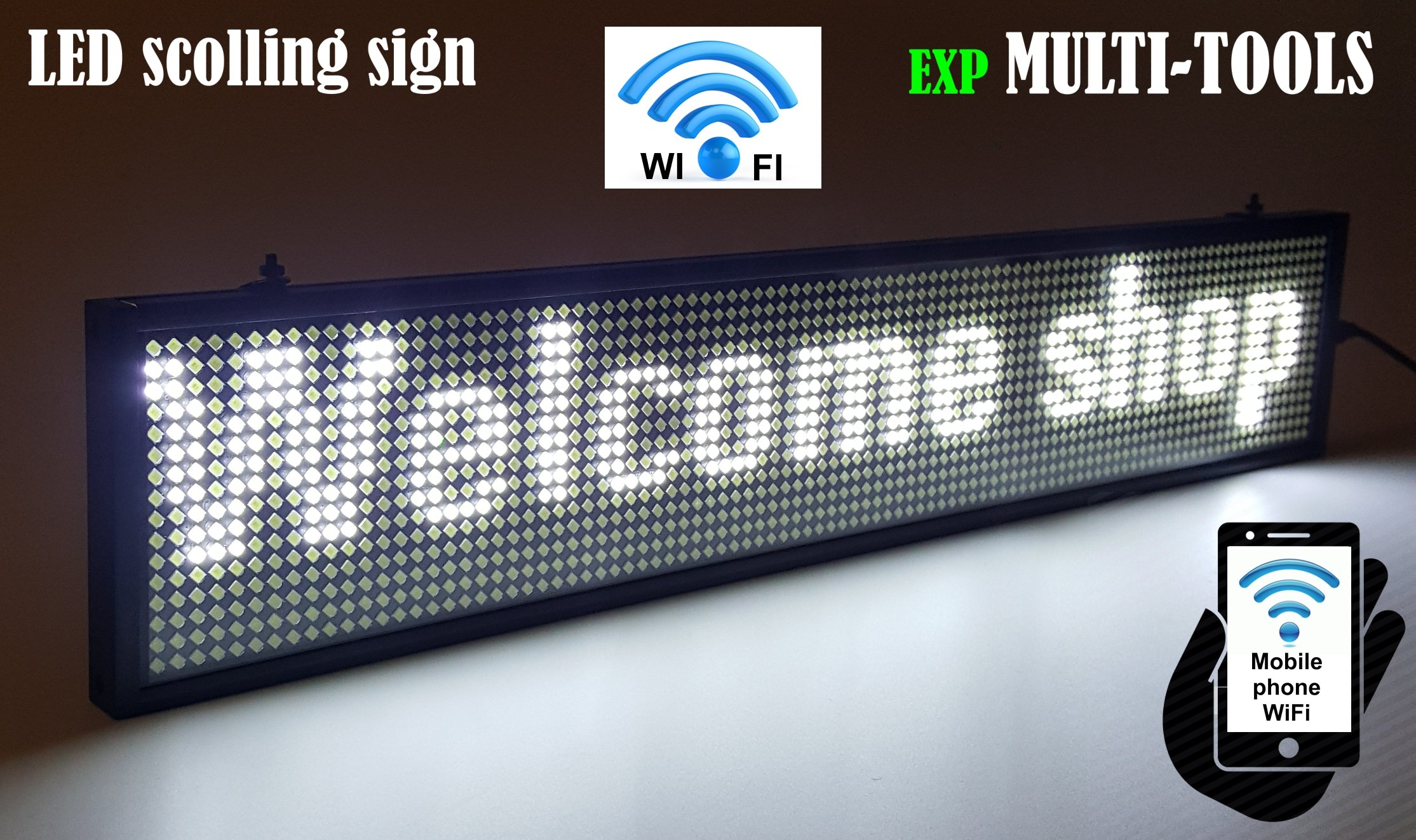 LED Display White Color with WiFi Connection, LED