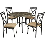 Dorel Living Faux Marble Top Dining Table Set