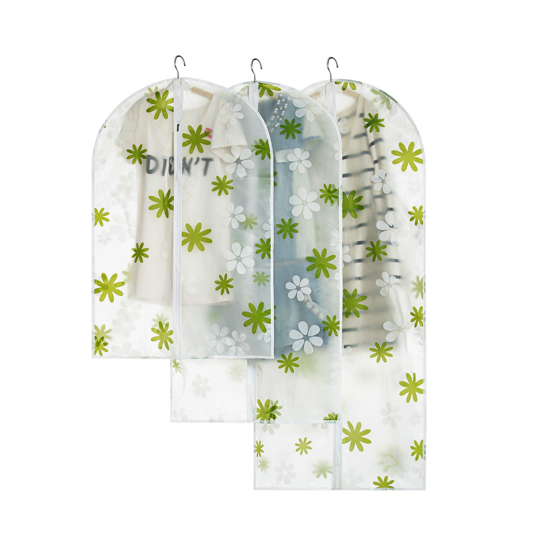 OHOO 6pcs/Pack Garment Bags Dust Cover Lightweight Green Flower Clear Suit Bag Full Zipper Travel Coat Dance Dress Cloth Cover Closet Storage Three Sizes