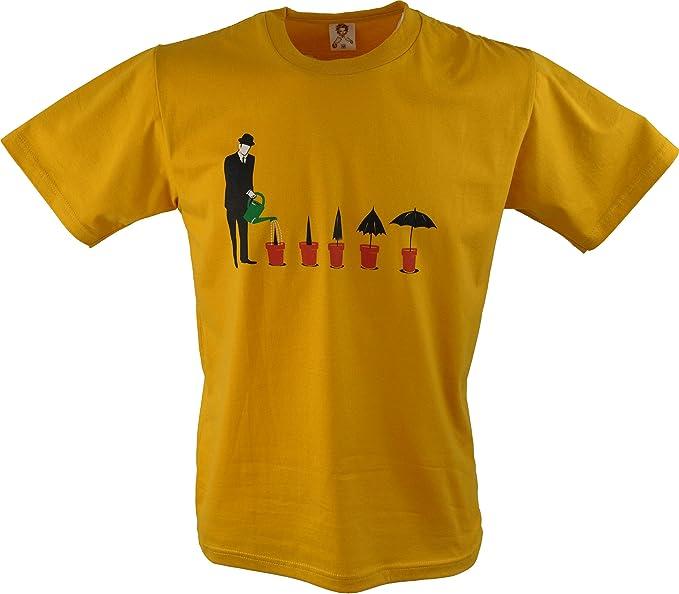 Guru-Shop, Camiseta de la Diversión `Wachstum`, Amarillo, Algodón,