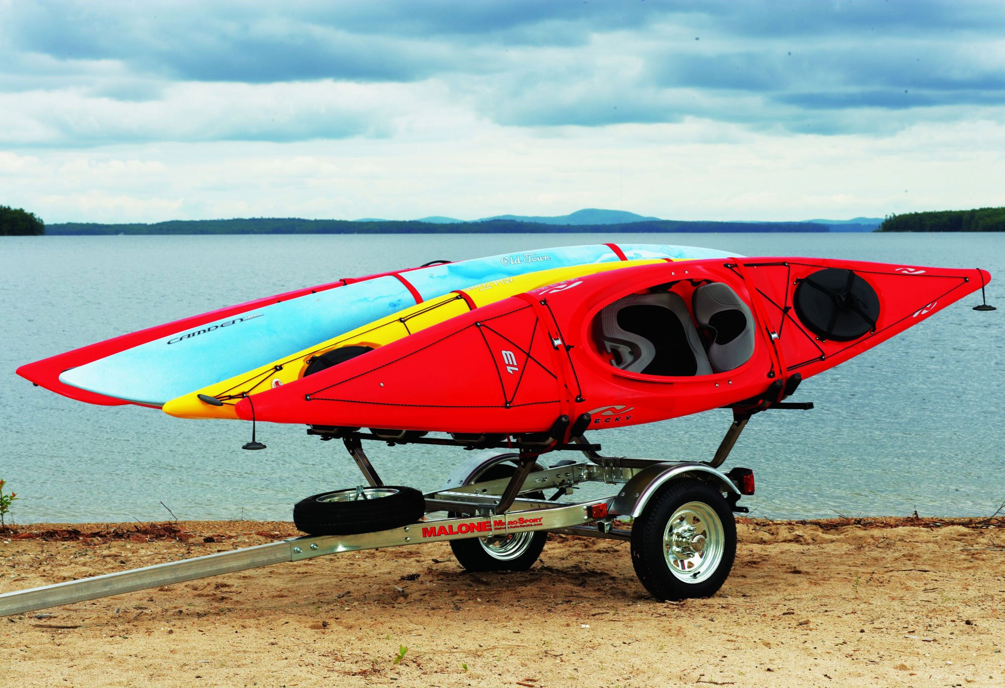 Malone Auto Racks MicroSport Trailer Kayak Transport Package with 4 Malone J-Pro2 Kayak Carriers by Malone