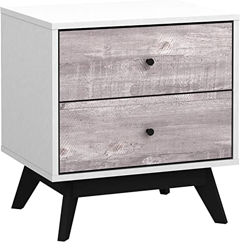 The Mezzanine Shoppe Crislana Ultra Modern 2 Drawer Bedroom Nightstand