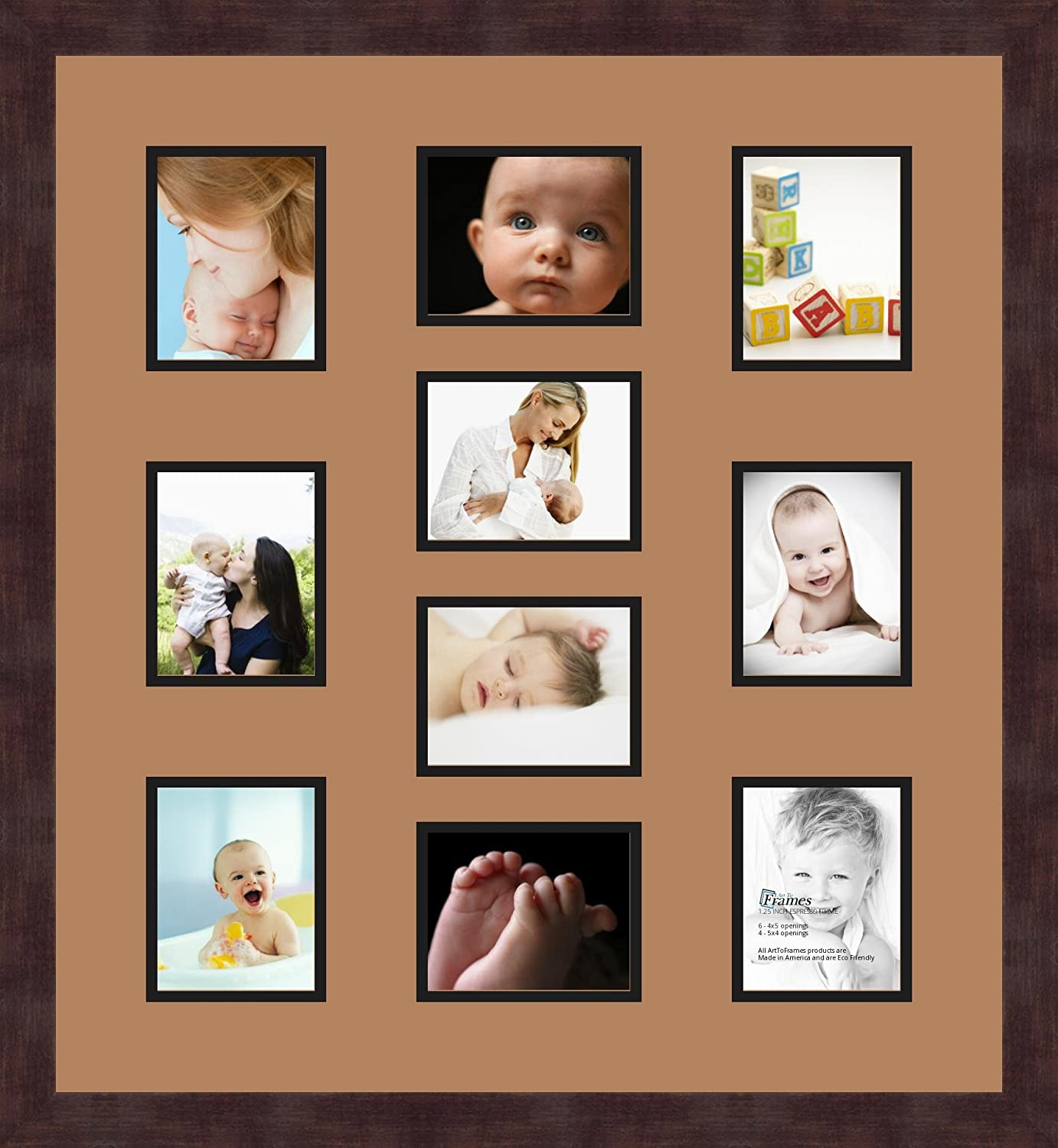 Art to Frames Double-Multimat-445-817//89-FRBW26061 Collage Frame Photo Mat Double Mat with 10-4x5 Openings and Espresso Frame