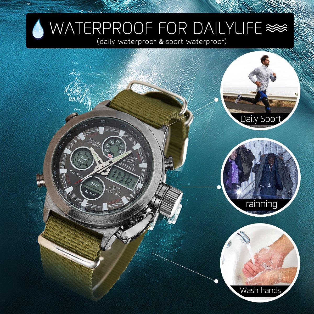 BIDEN Watch, Watch Men Digital Analog Sport Waterproof Watch,Multifunction LED Date Alarm Leather Wrist Watch (GreenBlack) by BIDEN (Image #6)