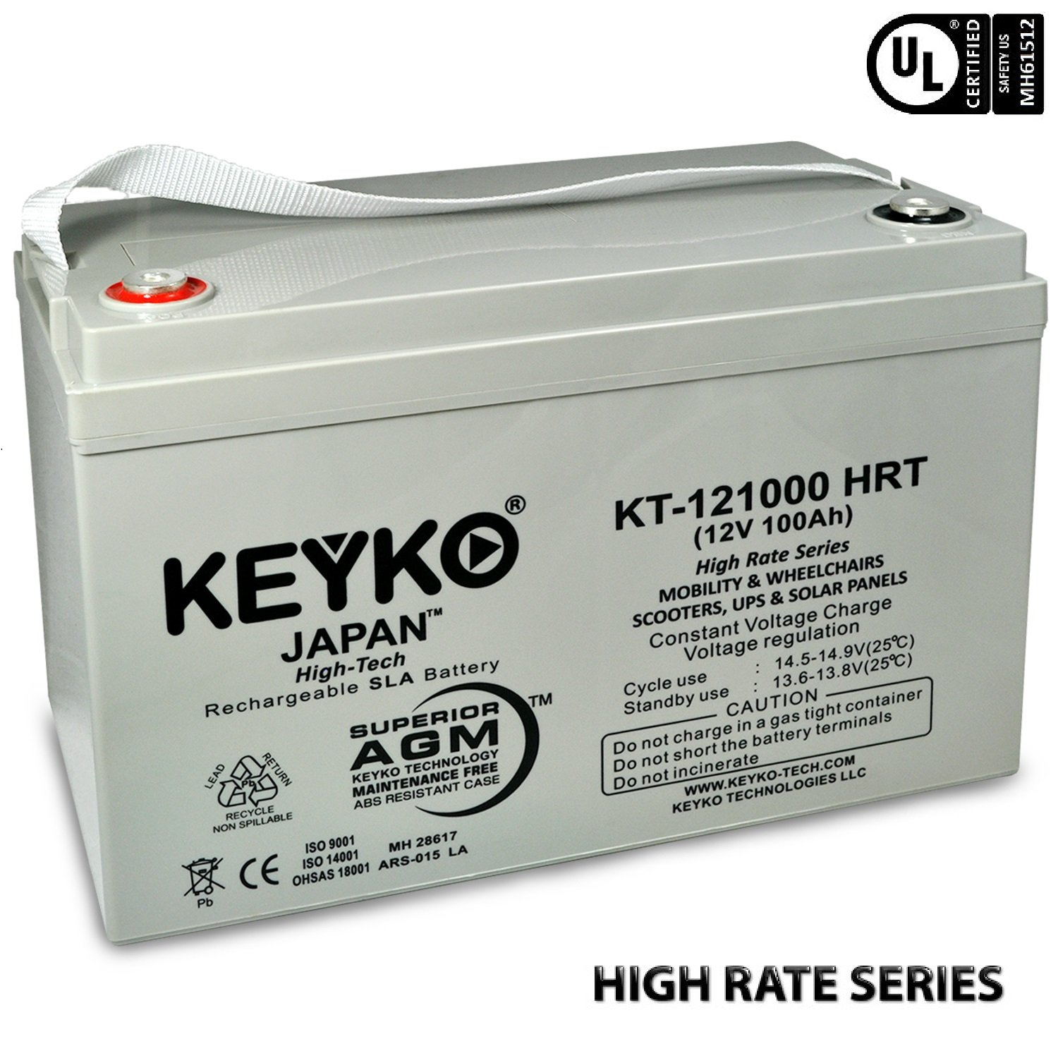 Goal Zero Yeti 1250 Solar Generator 12V 100Ah Real 100 Amp AGM / SLA Deep Cycle Battery for Solar Winds Inverters Generators Genuine KEYKO - IT Terminal - T3 by KEYKO