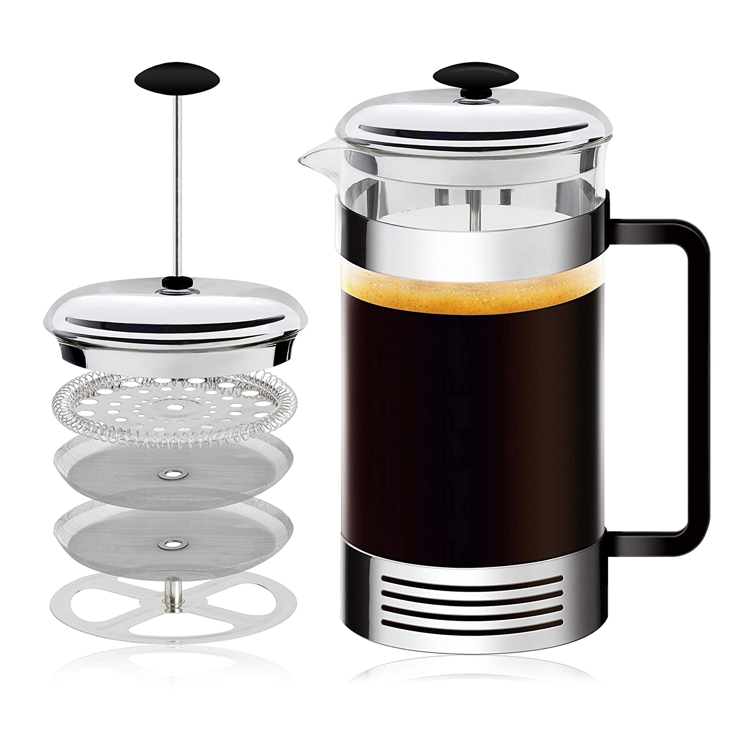All-In-One French Press Coffee Maker Dual Function Coffee Press And Tea Maker High-Grade Stainless-Steel Single Cup or 32 OZ Multi-Cup Make Gourmet Coffee At Home With This French Coffee Press