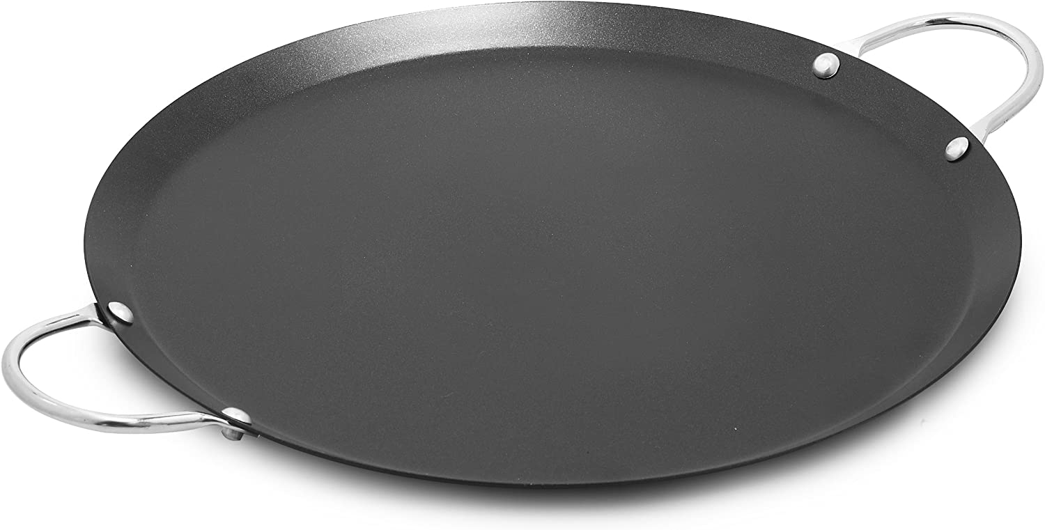 Amazon Com Imusa Usa Imu 52014 11 Nonstick Carbon Steel Small Round Comal With Metal Handles Black Aluminum Non Stick Round Flat Griddle Kitchen Dining