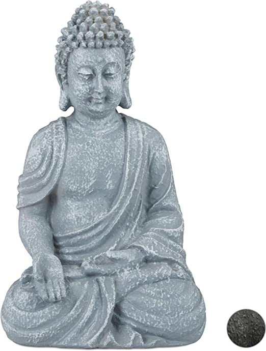 Relaxdays, Gris Claro, Estatua Buda Sentado para Jardín o Salón ...