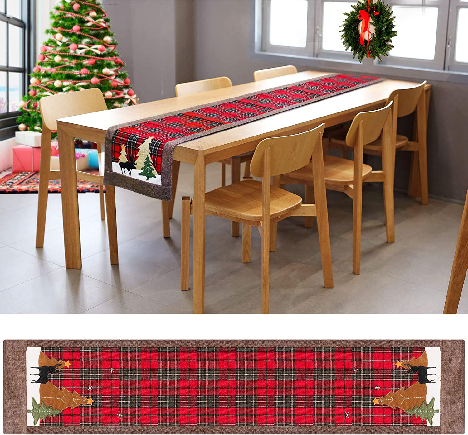 """Allnice Christmas Table Runner, 72in Table Runner Christmas Cotton & Linen Tabletop Collection Plaid Christmas Runner for Table Home Decoration (14"""" x 72"""")"""