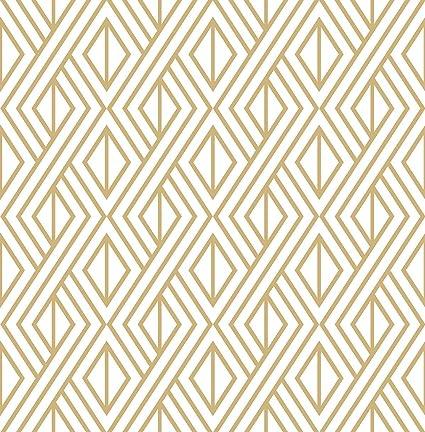 Marquis Diamond Geometric Wallpaper Gold White