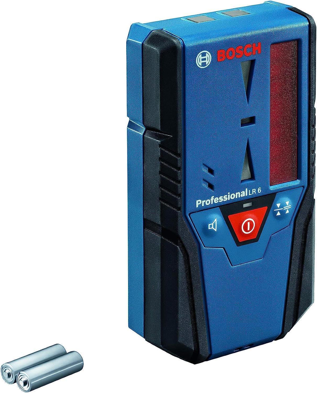 Bosch Professional Receptor de láser LR 6 (para láser rojo, 2 pilas AAA, alcance: 5 - 50 m)