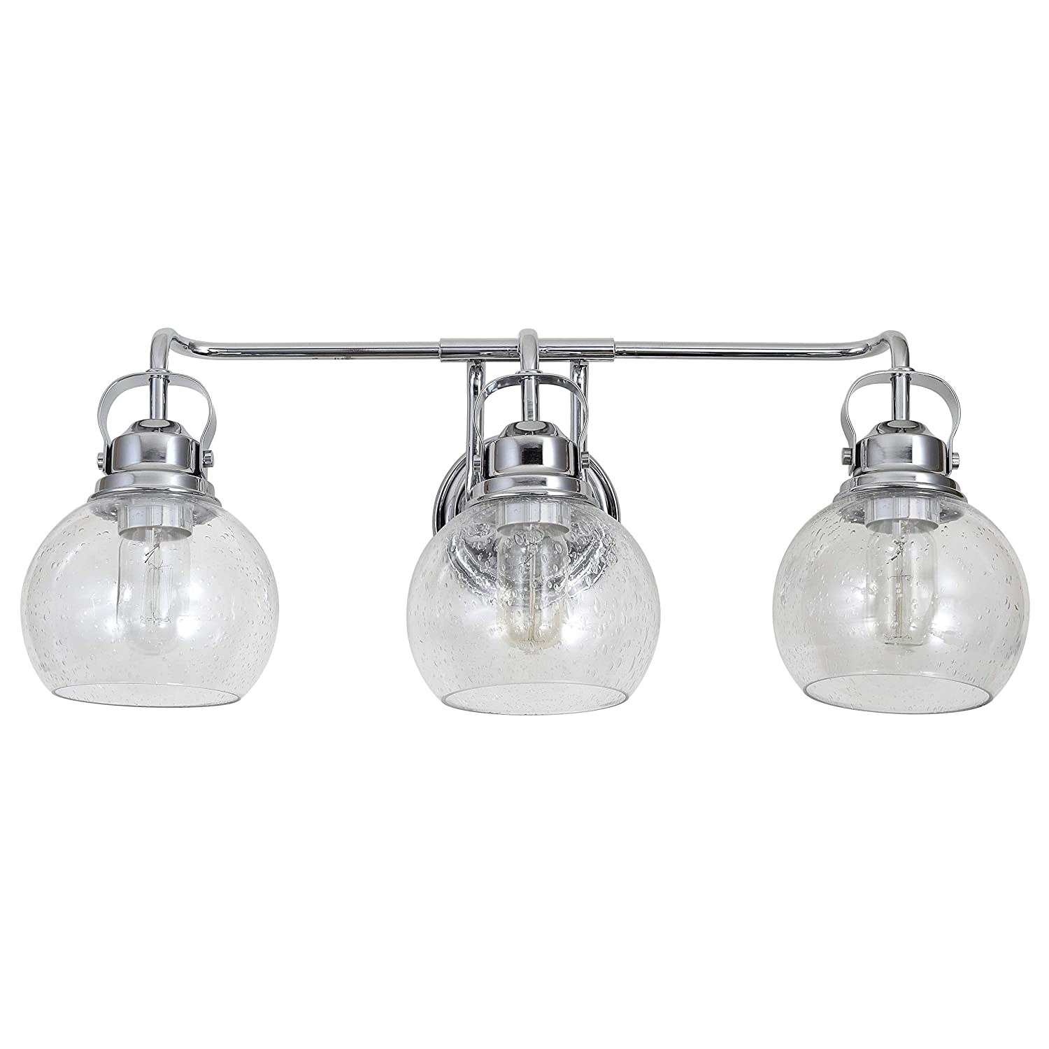 JONATHAN Y JYL7405A Shirley 24 3-Light Metal Bubbled Glass Vanity, Chrome Clear