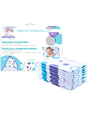 Disposable Change Mat | Extra Large ̶ 27 inches by 18 inches | For Babies and Toddlers | Waterproof for Leak-Proof Protection | Quilted and Comfortable | Portable for Travel | 10 Count