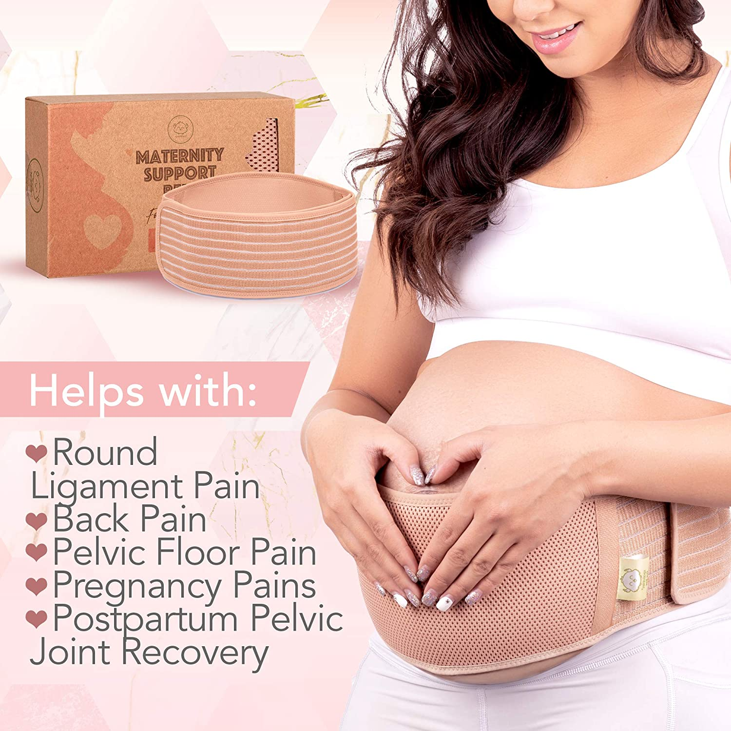 Maternity Belly Band for Pregnancy - Soft & Breathable Pregnancy Belly Support Belt - Pelvic Support Bands - Tummy Bandit Sling for Pants - Pregnancy Back Brace (Classic Ivory, One Size): Industrial & Scientific