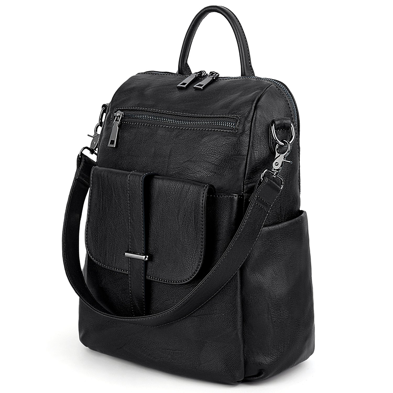 UTO Women Backpack Purse PU Washed Leather Convertible Ladies Rucksack Front Belt Pocket Shoulder Bag Black