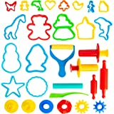 KIDDY DOUGH Tool Kit for Kids - Party Pack w/ Animal Shapes - Includes 24 Colorful Cutters, Molds, Rollers & Play Accessories