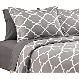 Karalai Bedding Collection 4 Pc Lattice Grey King Duvet Cover Set -1 Duvet, 2 Pillow Shams 1 Fitted Sheet Included