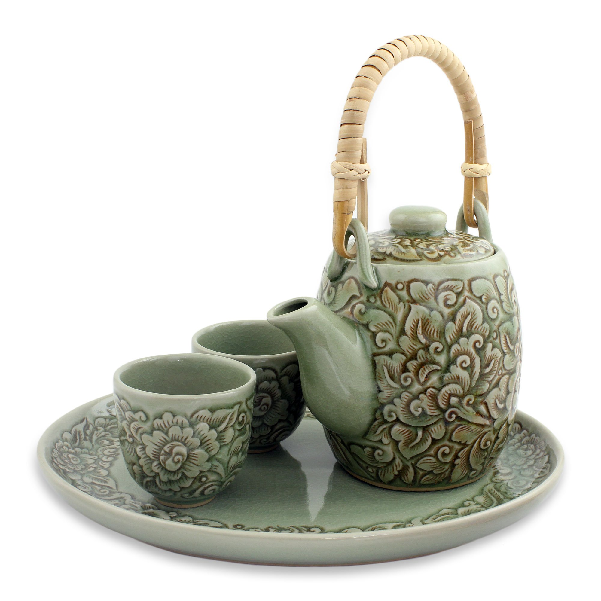NOVICA Celadon ceramic tea set, Set For 2, Thai Camellia in Brown by NOVICA