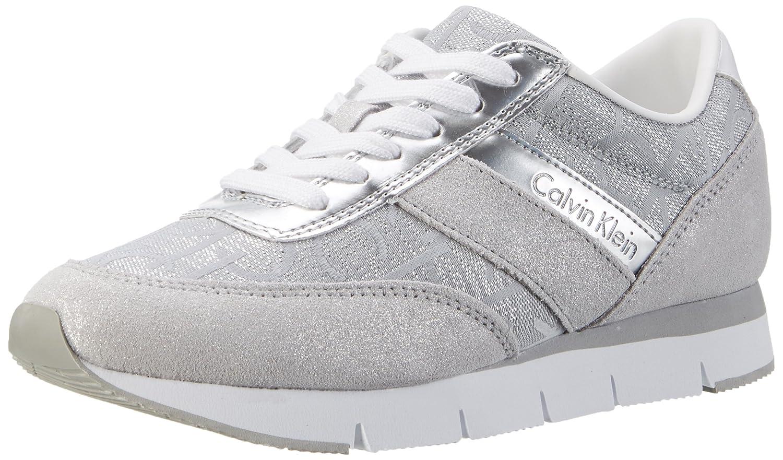 Calvin Klein Jeans Tea Metallic Jacquard/Suede, Zapatillas para Mujer 41 EU Plateado (Light Silver)