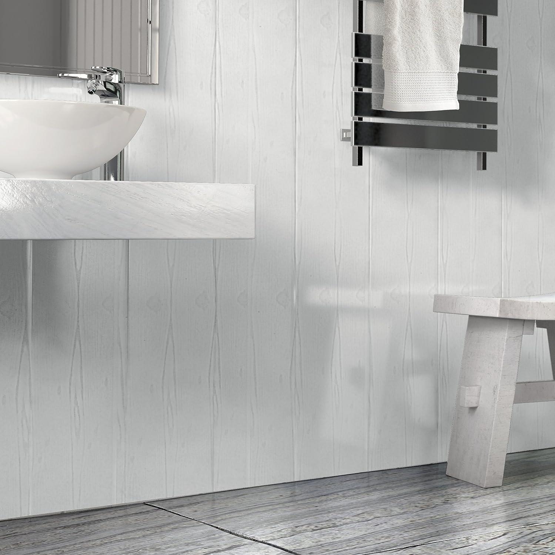 The Cladding Store Matt White Wood Effect Bathroom PVC Cladding Shower Ceiling Kitchen Wet Wall Panels UPVC Shower Splash Panels (16 Pack)