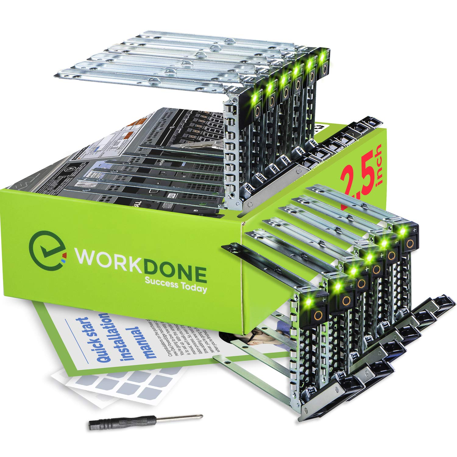 WorkDone 12-Pack 2.5-inch R440 R640 R740 R740xd R840 R940 R6415 XC Drive Caddy - Bright LED Tray - Compatible for 14th Gen Dell PowerEdge Servers - Sticker Labels - Setup Manual - Selected Screws