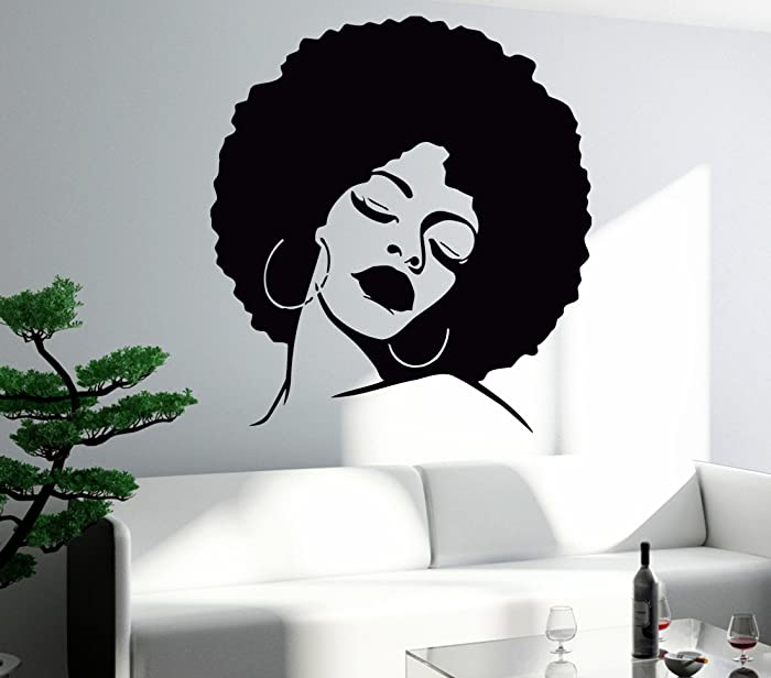 Wall Sticker Vinyl Decal Black Lady Face Hot Sexy Hair Salon Mural (z596) XL 45 in X 54 in