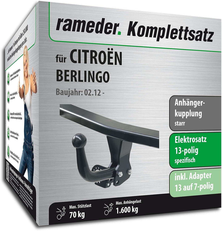 Rameder Komplettsatz 13pol Elektrik f/ür CITRO/ËN BERLINGO Anh/ängerkupplung starr 157243-06731-2
