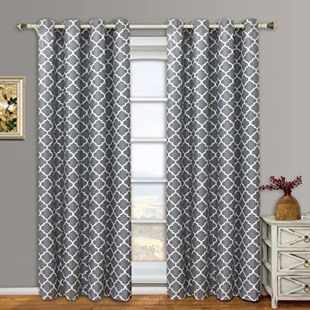 Modern Elegant Meridian Blackout Top Grommet Thermal Insulated Window Curtain Set of Two Panels, Grey, Set of Two 52 by 84 Panels 104 x 84