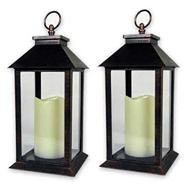 BANBERRY DESIGNS Decorative Candle Lantern - Set of 2 Brushed Finished Metal Looking Lanterns with LED Candles Inside - 5 Hour Timer