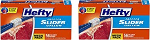 Hefty Slider Freezer Storage Bags, Gallon Size, 56 Count (#. 0 2 Box of 56)
