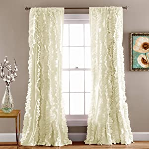 """Lush Decor Belle Window Panel for Living, Dining Room, Bedroom (Single Curtain), 84"""" x 54"""", Ivory, 84"""" x 54"""""""