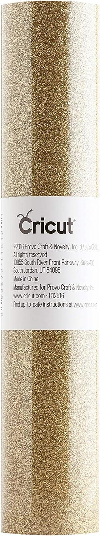 "Cricut Glitter Iron On Vinyl Sheets, 12"" x 19"", DIY Supplies, HTV Rolls - Gold"