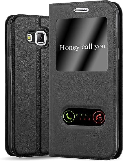 Cadorabo Coque pour Samsung Galaxy J5 2015 en Noir COMÈTE - Housse Protection avec Stand Horizontal et Deux Fenêtres - Portefeuille Etui Poche Folio ...