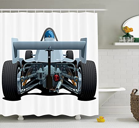 Xixgc cars shower curtain by back view of a formula 1 race car rally competition