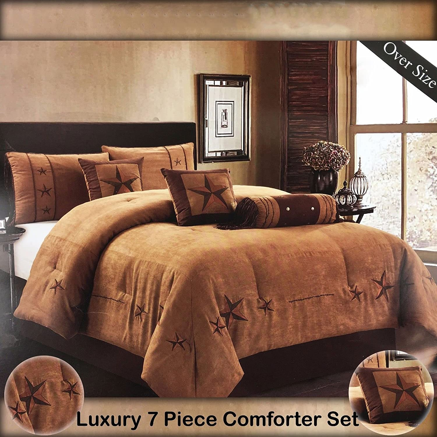 Western Peak Oversize Embroidery Texas Western Lone Star Micro Suede Comforter Bedding 7 Piece Set Shams Bed Skirt (Oversize King, Brown Turquoise) WPNBETBRK