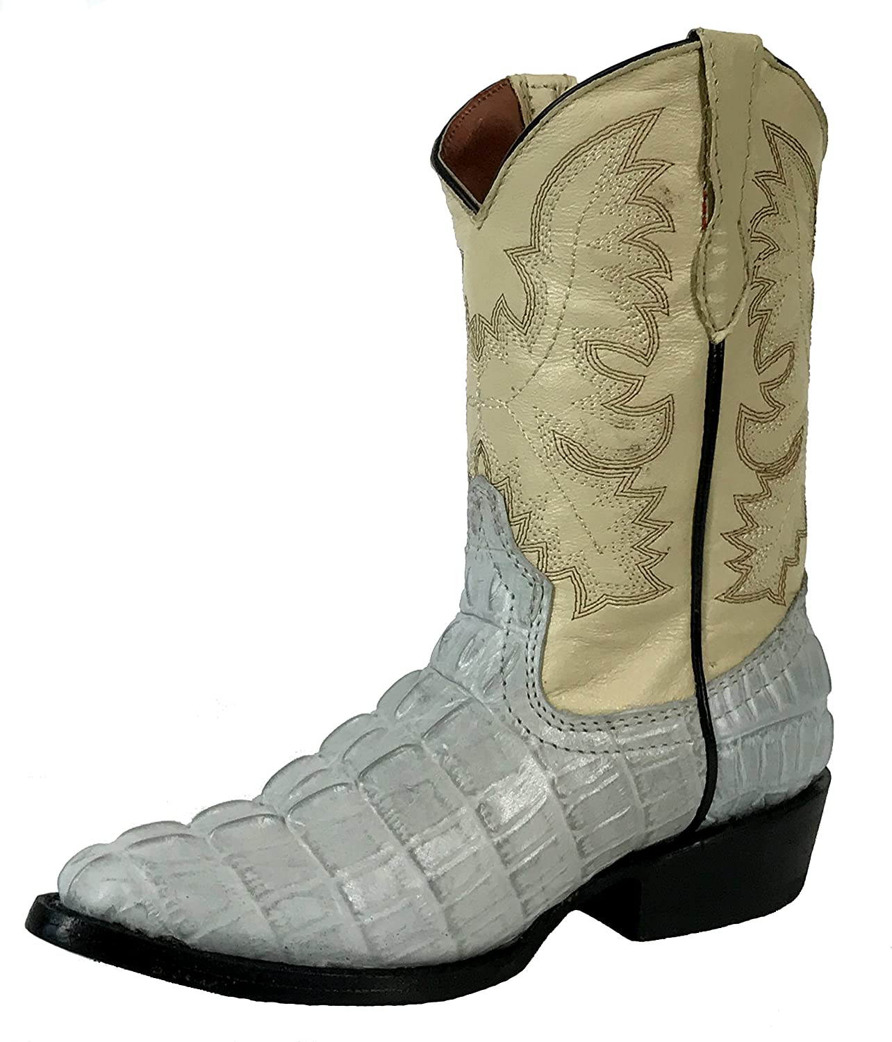 Kids Boys Genuine Leather Crocodile Design Cowboy Western Rodeo Boots J Toe of White