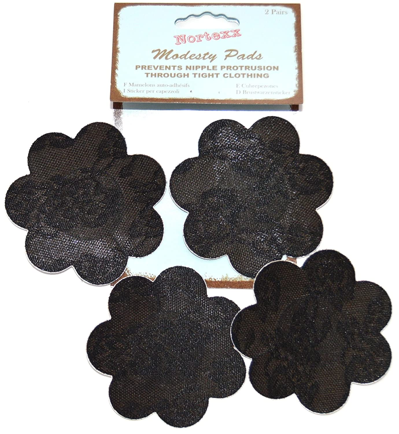 2 Pairs Nortexx Modesty Pads Self Adhesive Nipple Covers Black or Nude NMP200X