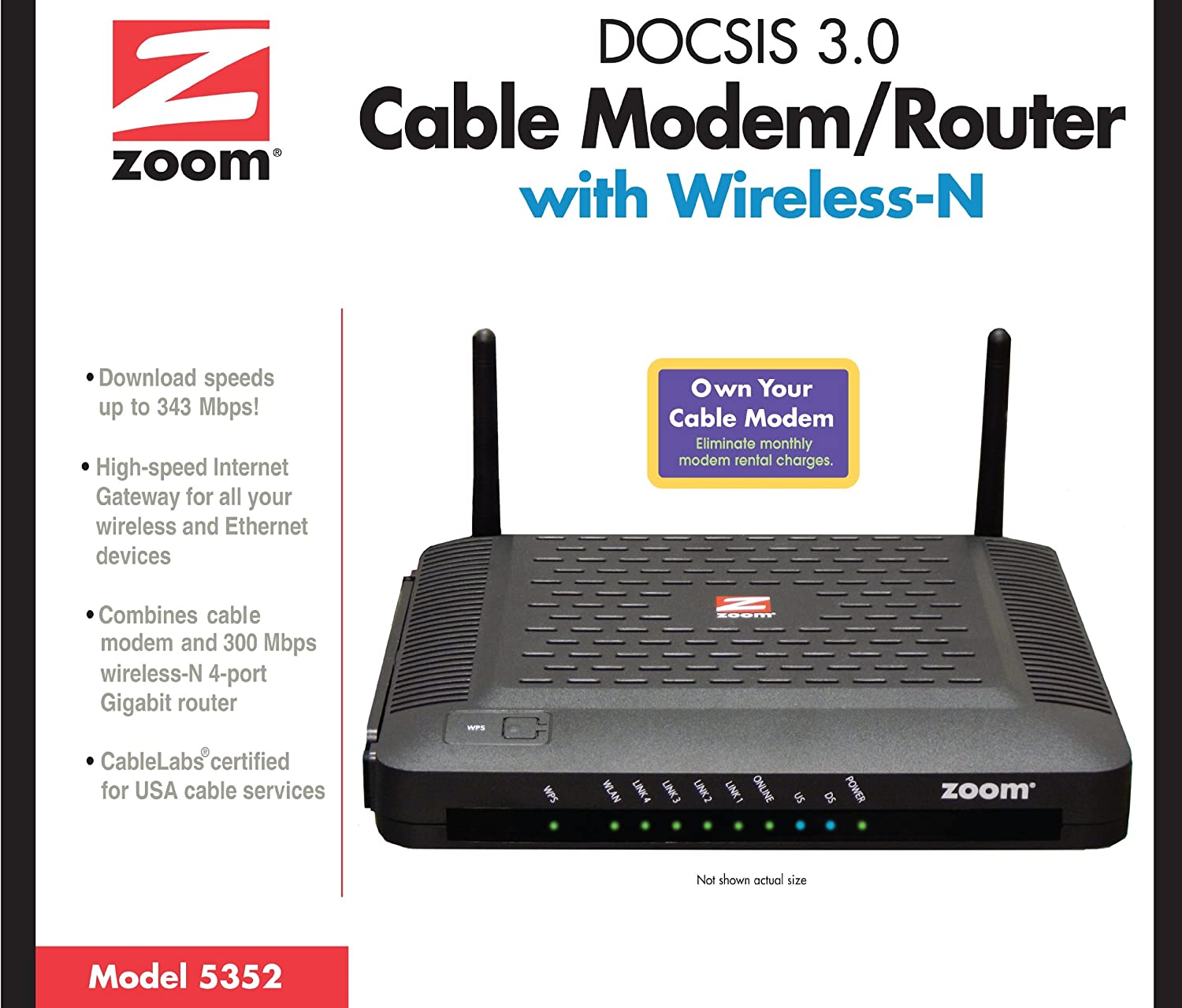 Amazon.com: ZOOM DOCSIS 3.0 Cable Modem and Wireless-N Router (5352 ...