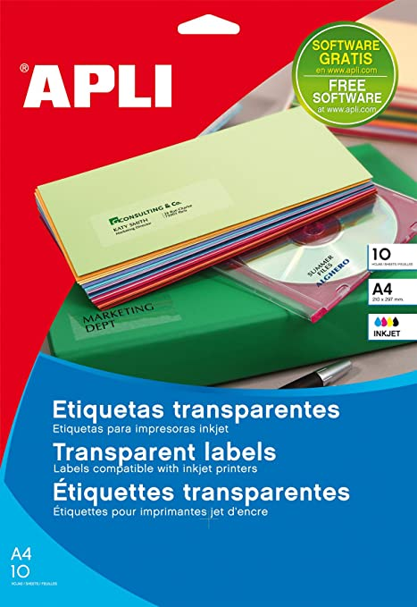 Amazon.com : APLI 10053 - Transparent Labels (210 x 297 mm ...