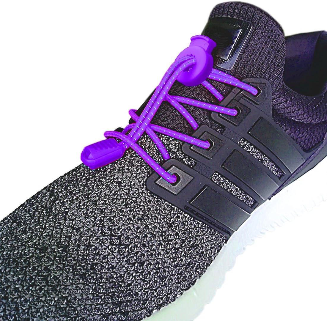 Canwn [2 Pares] Cordones Elásticos para Zapatos, Atar y Sin Nudo Reflexivo Cordones de Zapatos con Longitud de 120cm para Maratón y Triatlón Atletas,Corredores,Niños, Ancianos,Discapacitado(Púrpur): Amazon.es: Hogar